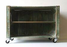 Mobiletto in legno, shabby chic,verde azzurro, con ruote e mensolina