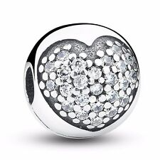 925 Silver Sterling Pave Love Heart Clip Stopper Charm Fits European bracelet