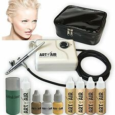 Foundation Set with Blush Bronzer Shimmer and Primer Airbrush Kit Fair 4 Piece