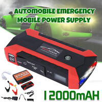 1000 Amp Pea-k With 12000mAh 12V LCD 4 USB Portable Car Battery Jump Starter US