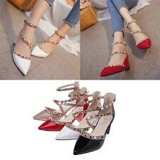 Rivet Patent Pointed Toe Thin Shoe Clinch Bolt Women Mid Heel Pumps Sandals