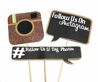 3PC Photo Booth Props Wedding Parties Social Media Instagram Follow Set