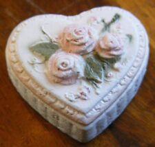 1991 mini miniature Enesco Heart shape box raised pastel pink roses much detail