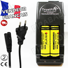 2 PILES ACCUS RECHARGEABLE 18650 3.7V 3200mAh + CHARGEUR TR-001 TRUSTFIRE RAPIDE