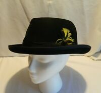 C-20 VINTAGE DORFMAN PACIFIC WOMAN'S BLACK WOOL DERBY HAT WITH FEATHER