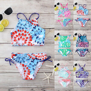 Kids Girls Tankini Bikini Swimsuit Outfits Set Beachwear Bathing Suits Swimwear