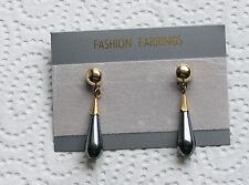 Hämatit Ohrhänger als Tropfen verarbeitet Farbe schwarz Metallisch
