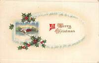Merry Christmas 1915 Embossed Postcard Snow Mill Holly