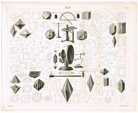 ORIGINAL ANTIQUE PRINT VINTAGE 1851 ENGRAVING CHEMISTRY SCIENCE CRYSTALLIZATION