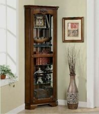 Tall Corner Curio Cabinet Lighted Traditional Mirrored 5 Shelf Antique Brown