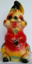 """1950's Bunny Chalkware Bank - Bright Colors with some Glitter - 12 1/2"""" High."""