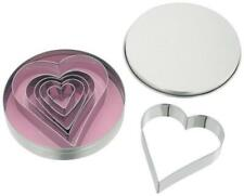 New JUDGE Home Baking Set of 6 Heart Metal Biscuit/Cookie/Pastry Cutters in Tin