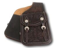 D.A. Brand Premium Tooled Mahogany Leather Saddle Bags Horse Tack Equine 003