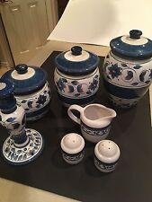 Pfaltzgraff Kitchen Canister Set Blue Porcelain Flour Sugar Coffee Salt Pepper