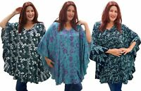 Boho Womens Poncho Blouse- One Size Ruffled Batik V Neckline- X573 LotusTraders