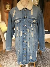PRIMARK GLAMOUR RIPPED LONGLINE OVERSIZED BORG DENIM FUR JACKET COAT 12 14