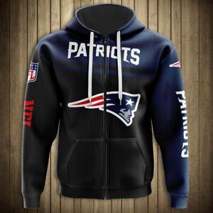 New England Patriots Football Fans Hoodie Zipper Sweatshirt Casual Jacket Gift