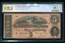 Ac T-69 $5 1864 Confederate Currency Csa Pcgs 35 comment Pf-10