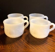 Vintage White milk glass tea cup 2 1/4 tall 3 wide, set of 4