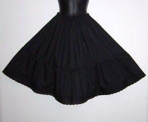 """PLUS size Black Crisp Cotton petticoat, lengths 23""""-40"""" knee to floor length"""