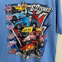 T-Shirt Blue Graphic Mens Logo USAC Sprint Car Series Champions Cotton Size L