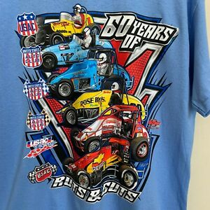 T-Shirt Mens Blue Graphic Logo USAC Sprint Car Series Champions Cotton Size L