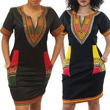 Neu Dashiki Kleid Traditionell Tribal Afrikanische Mini Abendkleider Partykleid