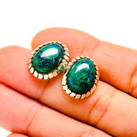 "Chrysocolla 925 Sterling Silver Earrings 3/4"" Ana Co Jewelry E411232F"