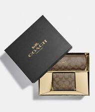 COACH BOXED METALLIC SIG MAKEUP BRUSH BAG & MIRRORED ID CASE SET~KHAKI~80122~NWT