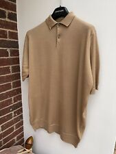 Brand New John Smedley Payton 100% Merino Wool Polo Shirt Light Camel XL RRP£180