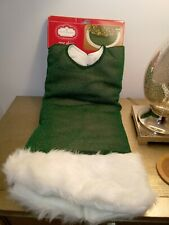 Christmas Tree Skirt 48 in Trim A Home Shiny Green with White Borders New
