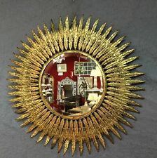 Glace / miroir soleil feuilles tôle doré biseauté diam 63 cm