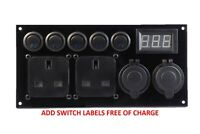 Camper Campervan Switch Utility Panel 12V/240V USB Battery Monitor Split Charger