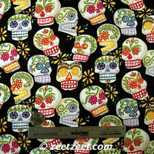 Alexander Henry MINI CALAVERAS Black Cotton Fabric Day of the Dead SKULLS by Yd