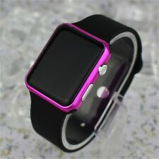 Free Gift Bag Sport Rubber Black Strap Ladies Men's LED Digital Watch Pink Case