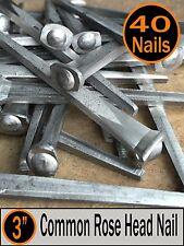 "(40) 3"" - COMMON ROSE HEAD NAIL  - Antique Vintage Rustic Nails - 10d"