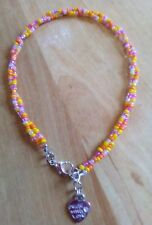 twisted multi colour bead anklet/ankle bracelet with made with love heart