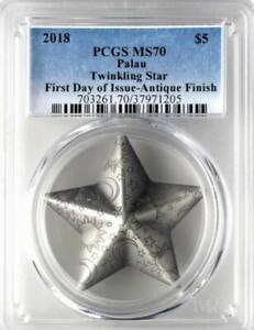 PCGS MS70 First Day of Issue Palau 2018 Twinkling Star Antiqued Silver Coin 1oz