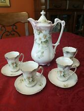 Antique RS Prussia Chocolate Set green Floral Saucers Cups