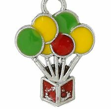 LOVELY SILVER & MULTI COLOURED BALLOONS IN BOX CLIP ON CHARM  -SILVER PLATE -NEW