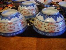 Antique Asian 4 Translucent Rice Bowls & Spoons-Blue/White/Orange &Gold Patterns