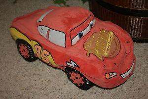 "Disney Pixar CARS Lightning McQueen Microbead Large 19"" Plush Pillow Toy  A1"