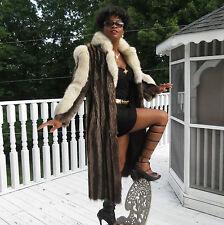 Designer Full Length Raccoon & white cream Fox Fur Coat Jacket Stroller S 0-6/8