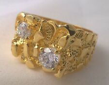 G-Filled Mens 18ct yellow gold simulated diamond nugget ring Gents bling hip hop