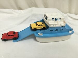 Vintage Green Toys Ferry Boat With Two Cars Child Bath Pool Toy