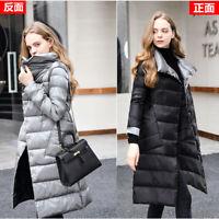 Womens Reversible Ultra-light 90% Duck Down Knee Long Jacket Coat Lapel Warm