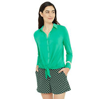 New ANN TAYLOR Womens XS Teal Green Shirt Mixed Media Tie Front Top nwt