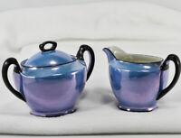 NORITAKE Japan Blue Sugar Bowl and Creamer - Vintage & Beautiful !