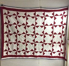 "Vintage Red White & Blue Pinwheel Quilt 82""x 64"""