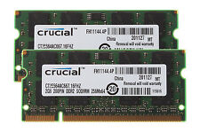 Crucial RAM DDR2 4GB Kit 2x 2GB PC2-5300S 667MHz CL5 200PIN Sodimm Laptop Memory